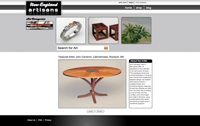 ehm studios web development new england artisans website
