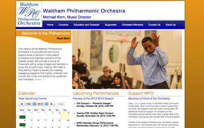 ehm studios web development website waltham philharmonic orchestra